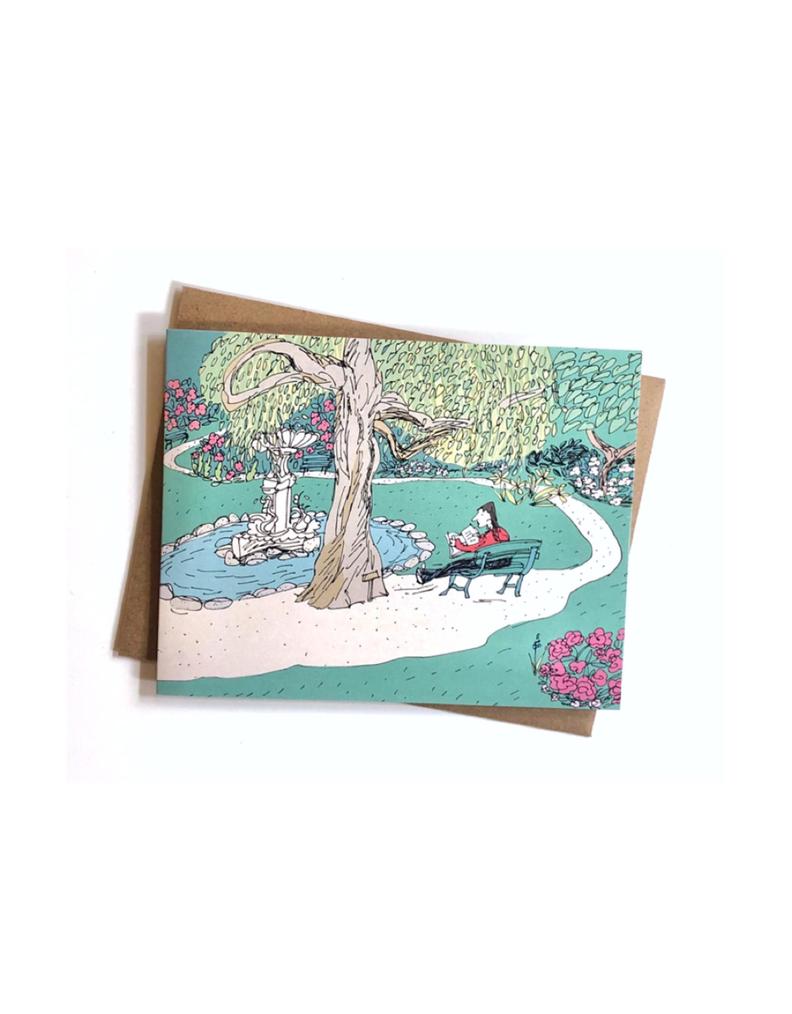 "Emma Fitzgerald - Card/Reading in the Public Gardens, 4.25 x 5.5"""