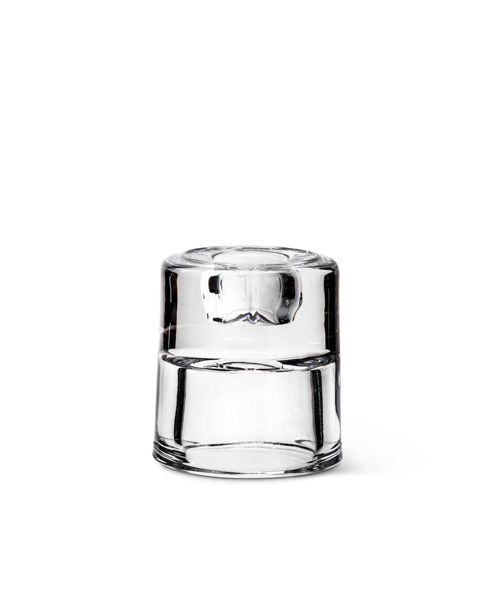 """ATT - Taper & Tea Light Candle Holder/Reversible, Glass, 2.5"""""""
