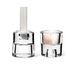 ATT - Taper & Tea Light Candle Holder/Reversible, Glass, 2.5""