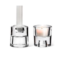 """ATT - Taper & Tealight  Holder/Reversible, Glass, 2.5"""""""