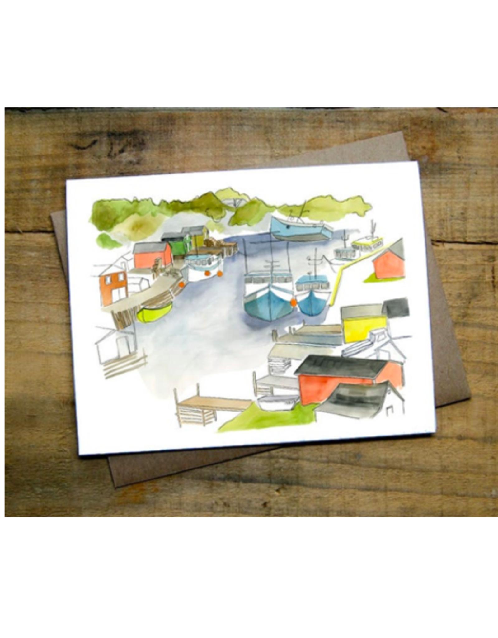 """Kat Frick Miller -  Card / Boats, 4.25 x 5.5"""""""