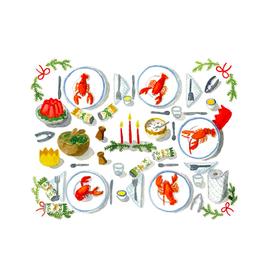 "Kat Frick Miller -  Card / Set 6, Christmas Dinner Lobster, 4.25 x 5.5"""