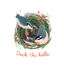 "Kat Frick Miller - Card / Set of 6, Deck the Halls Nuthatches, 4.25 x 5.5"""
