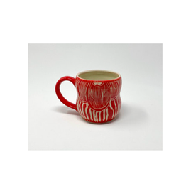 KG Ceramics Studio KG Ceramics - Fan Flower Mug/Red 12 oz
