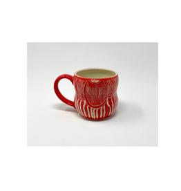 KG Ceramics Studio KG Ceramics - Fan Flower Mug/Red 12 oz