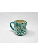 KG Ceramics - Beach Flower Mug/Teal, 12oz