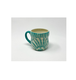 KG Ceramics - Beach Flower Mug/Teal 12 oz
