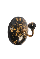 CJM - Sconce Single Wall Hook/Black & Gold, 4""
