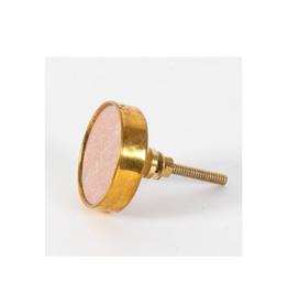 CJM - Knob/Pink Quartz & Brass