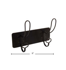 CTG - Wall Mounted Double Hook/Hairpin, Black, 9""