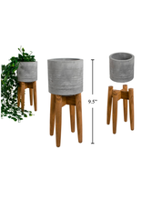 CTG - Plant Pot in Stand/Concrete & Wood, 4""
