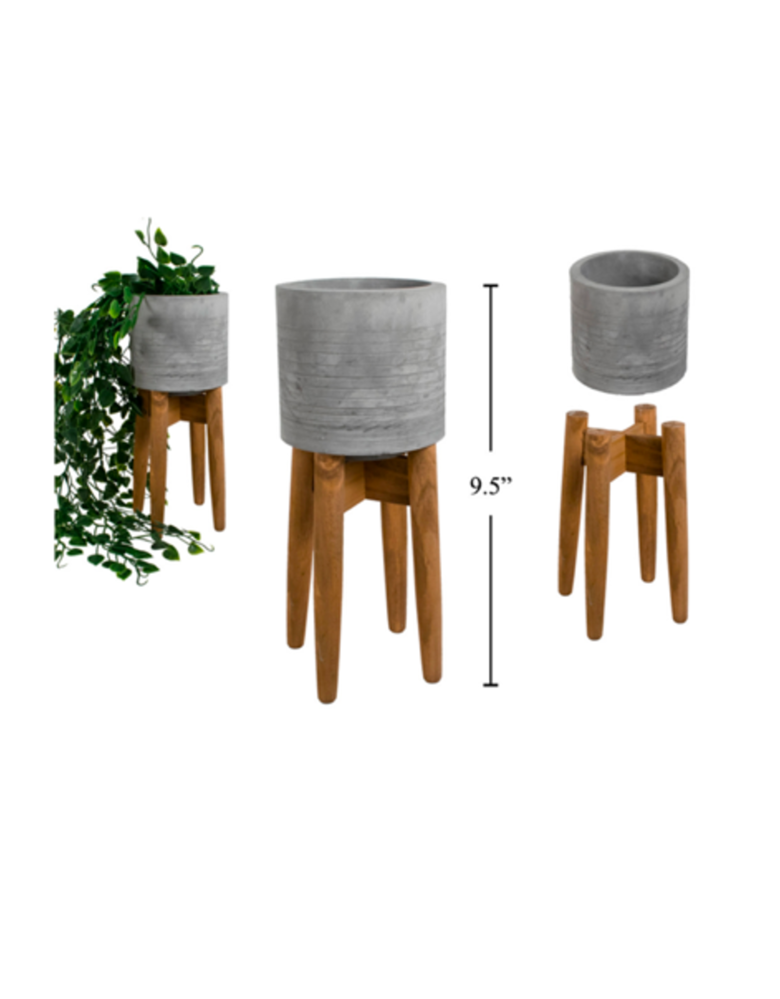 """CTG - Plant Pot in Stand/Concrete & Wood, 4"""""""