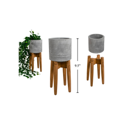 CTG - Plant Pot in Stand/Concrete & Wood, 4 x 4 x 10""