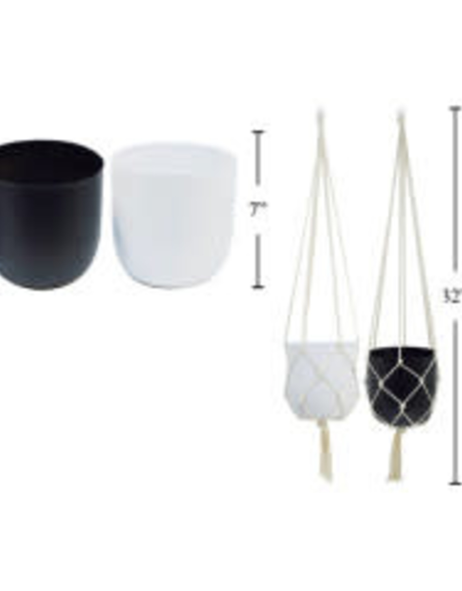"CTG - Hanging Plant Pot/White & Macrame, 7"""