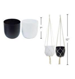 "CTG - Hanging Plant Pot / White & Macrame, 7"""