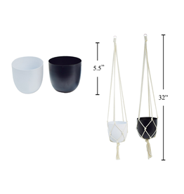 CTG - Hanging Plant Pot/Black & Macrame 5""