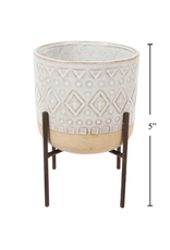 """CTG - Plant Pot in Stand/Natural Ceramic, 5"""""""
