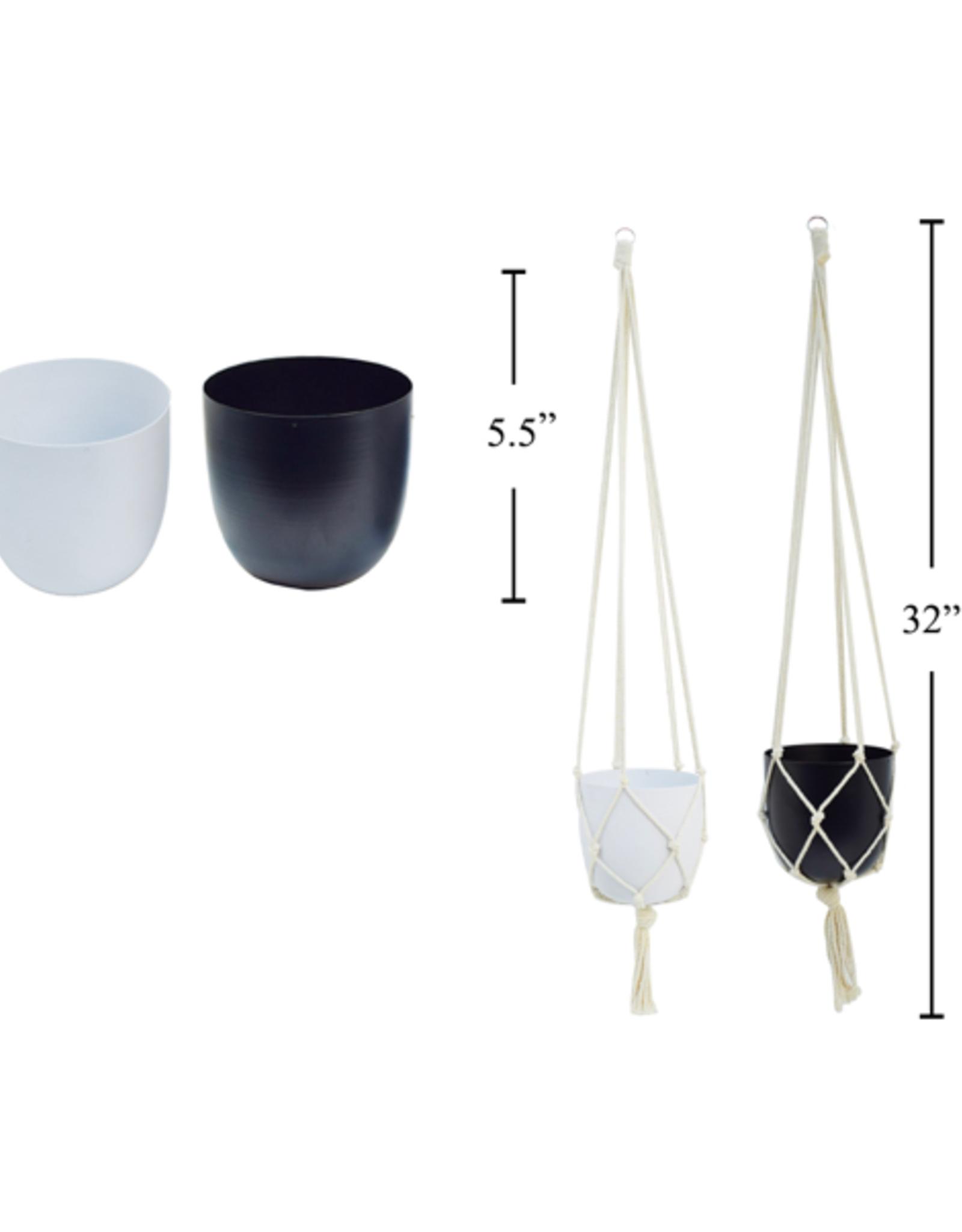 "CTG - Hanging Plant Pot/White & Macrame, 5"""