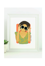 "Elana Camille - Print/Girl Afro Sunglasses, 8 x 10"""