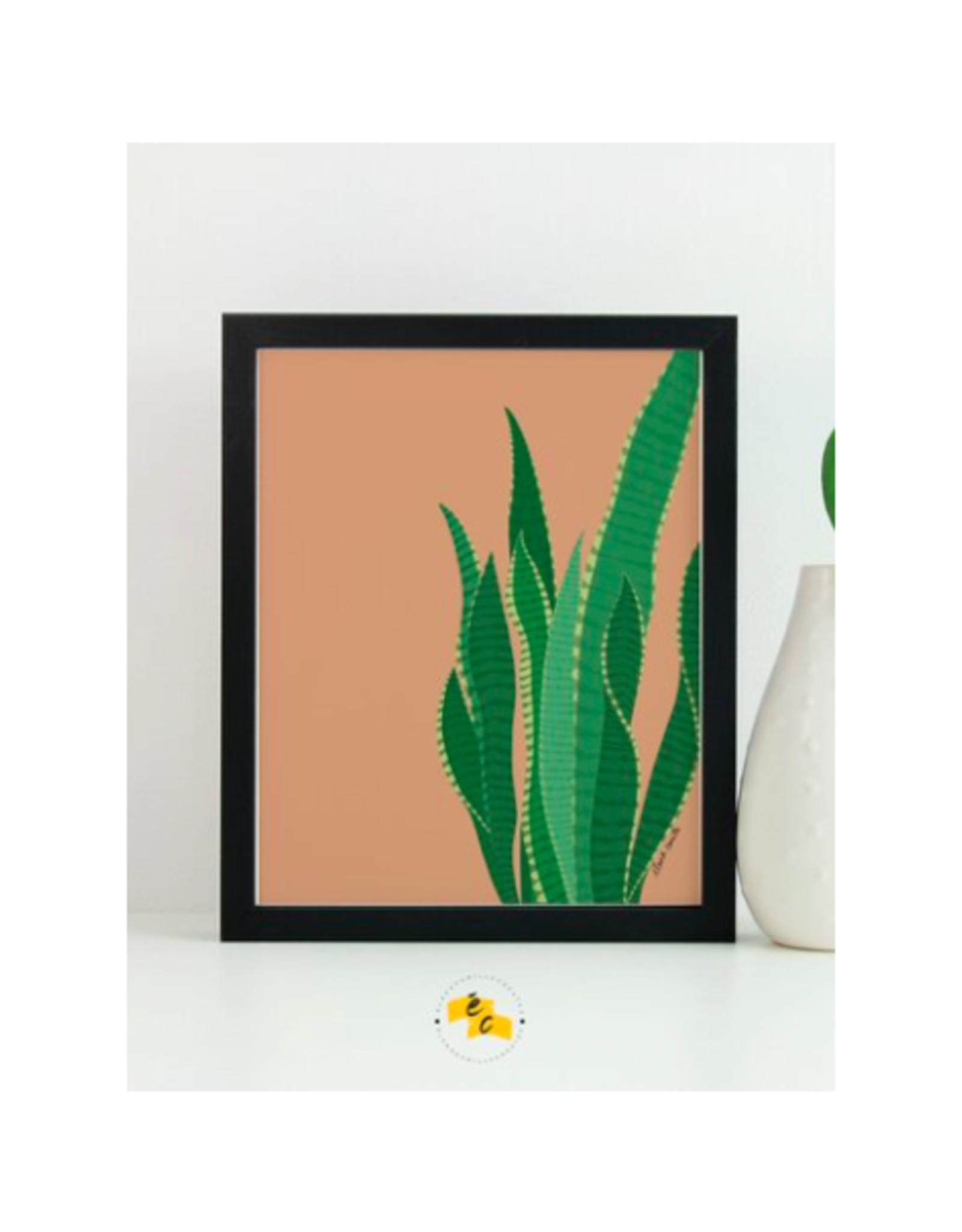 "Elana Camille - Print/Snake Plant, Brass 8 x 10"""