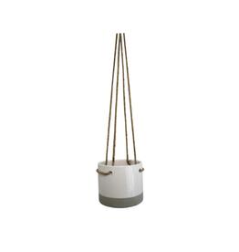 "NIA - Hanging Plant Pot/White & Natural Ceramic 4"""