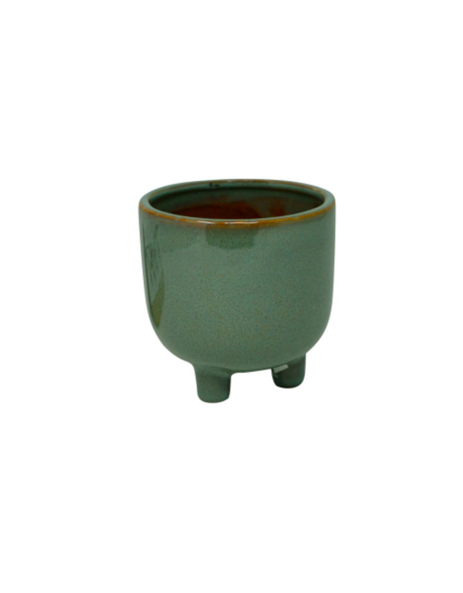 "NIA - Footed Plant Pot / Emerald Glaze, 3.75"""