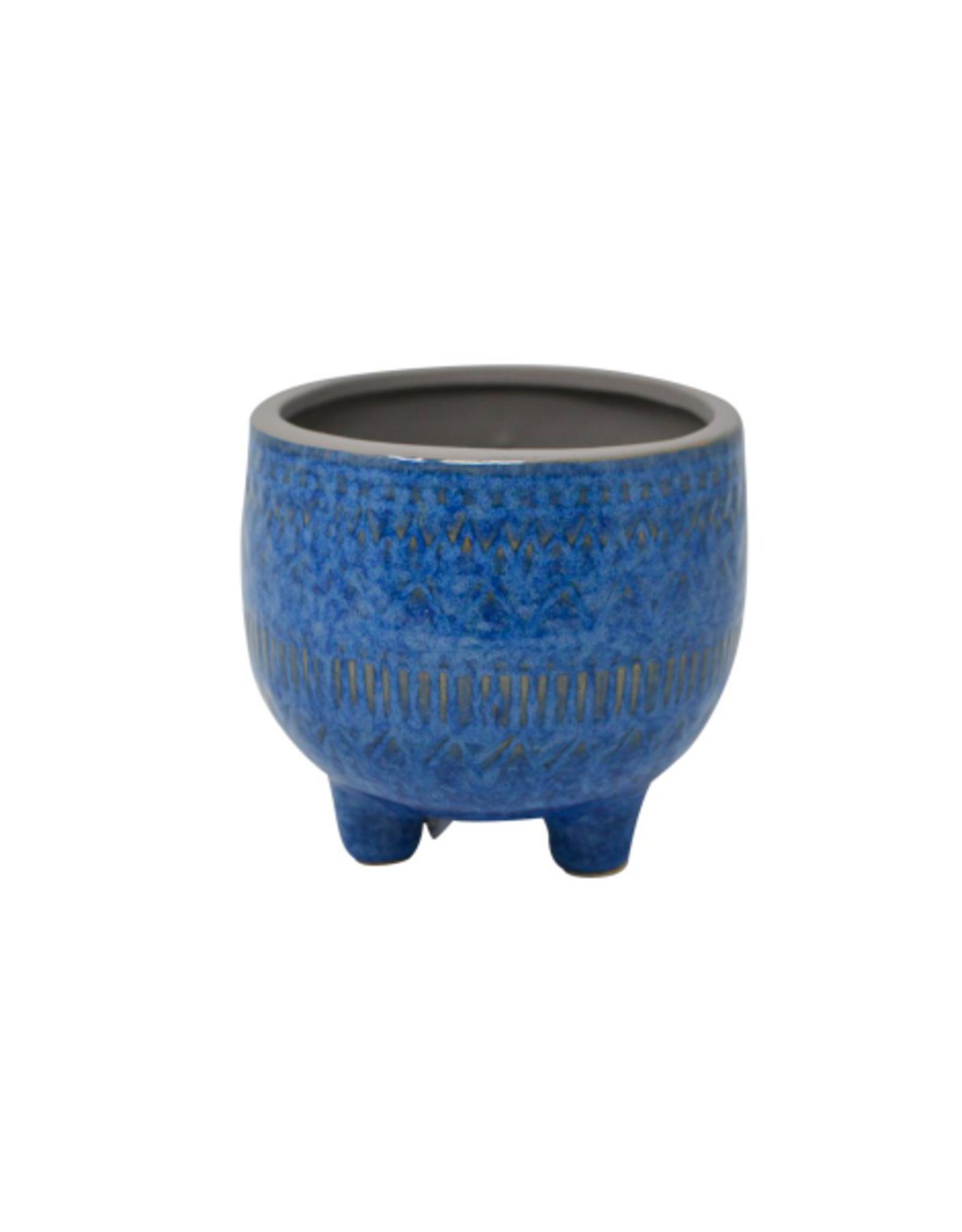 "NIA - Plant Pot/Blue Embossed 3.5"""