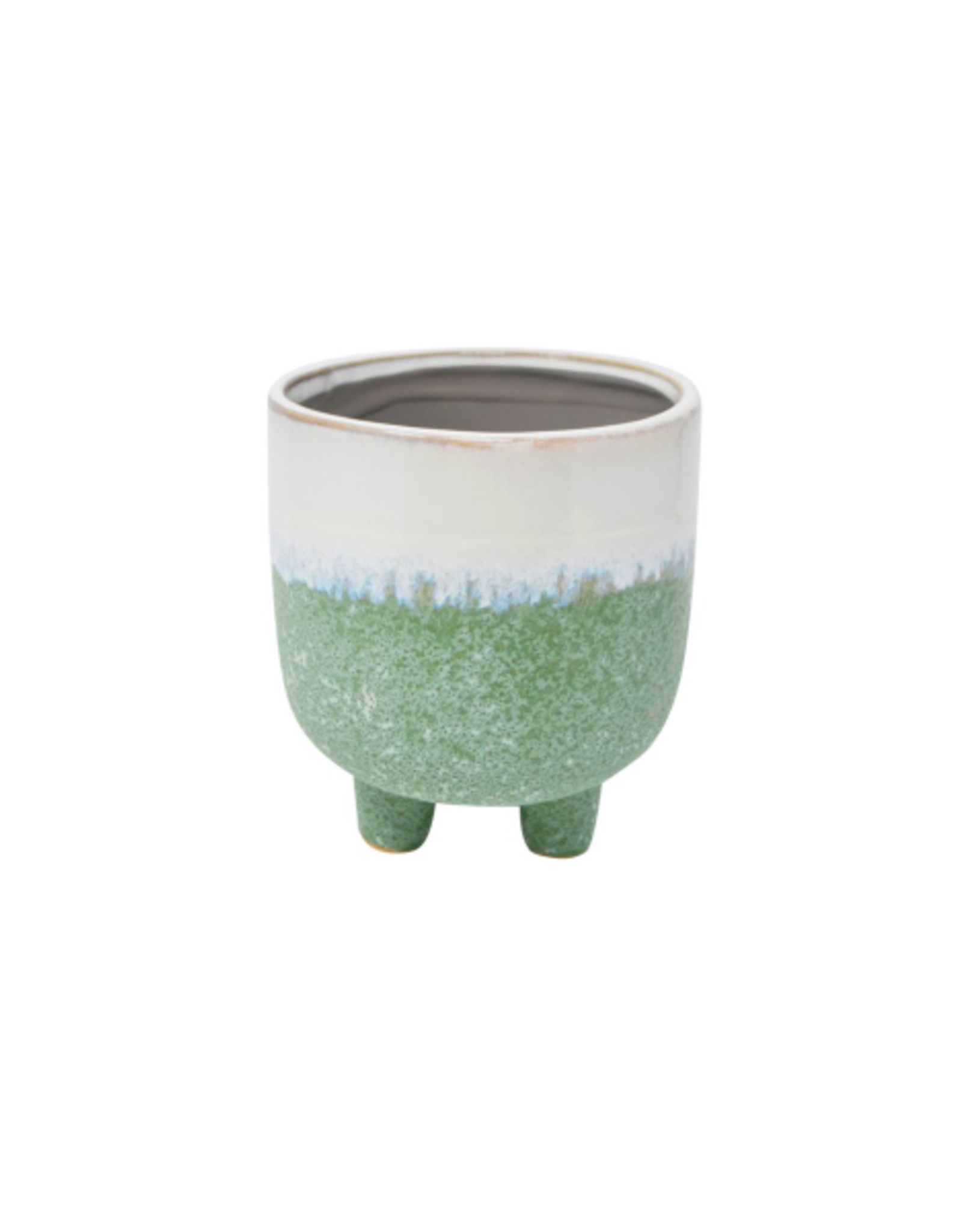NIA - Plant Pot/Dipped Green Glaze 4""