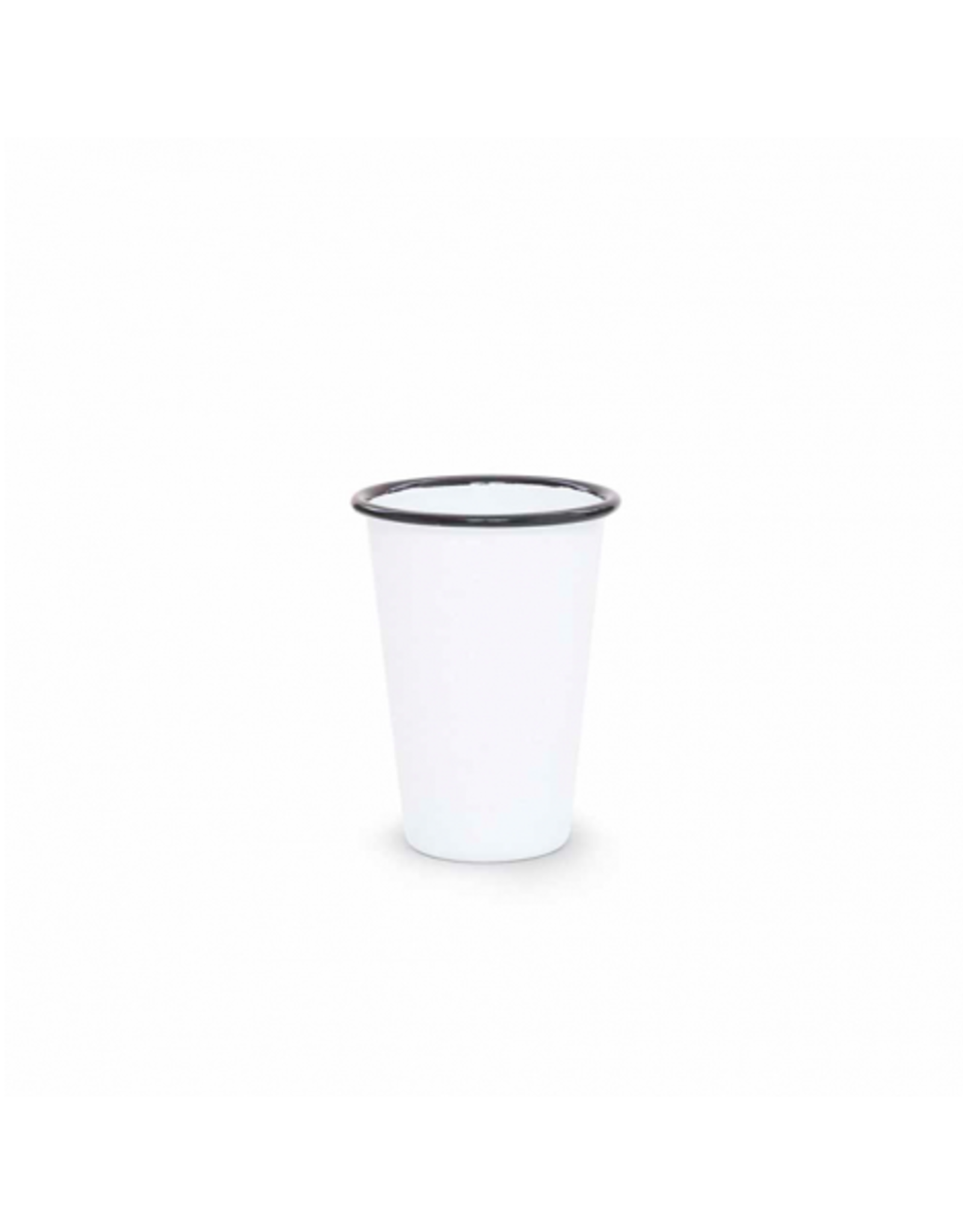 CON - Enamel Tumbler/White w Black Rim, Short, 14oz