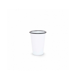 CON - Enamel Tumbler/White w Black Rim, Short, 14oz