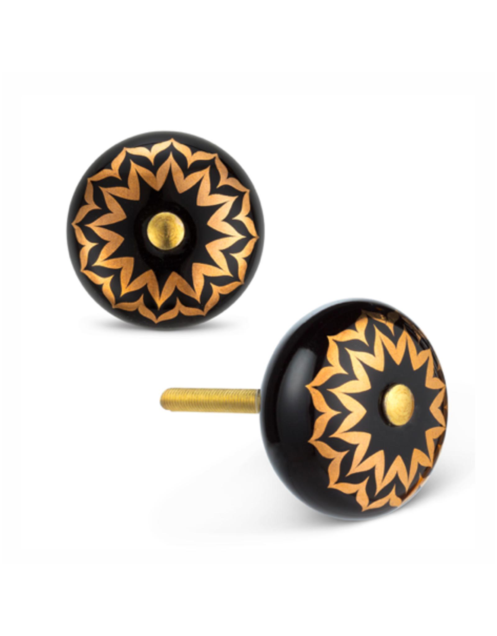 ATT - Knob / Gold Flower, Ceramic