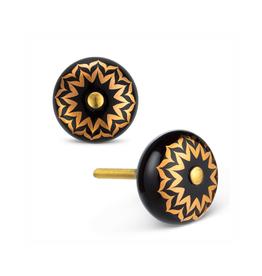 ATT - Knob/Black & Gold Flower