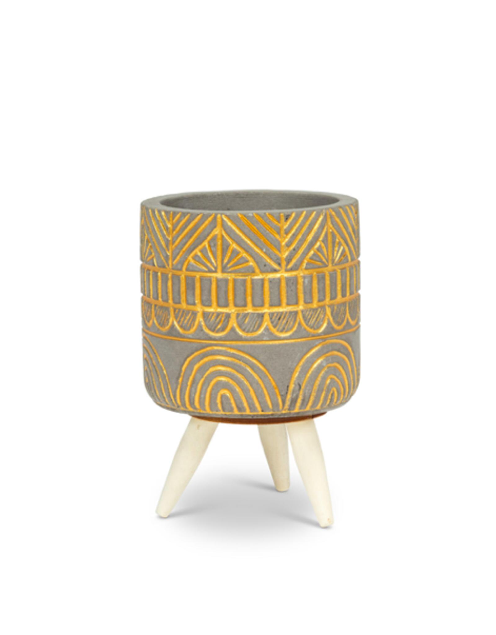 """ATT - Plant Pot Tripod /Gold Arch, 4.5"""""""