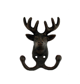 """FRS - Double Wall Hook / Stag, Cast Iron, 5.5"""""""
