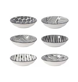 DCA - Pinch Bowl/Set 6, Black & Patterned