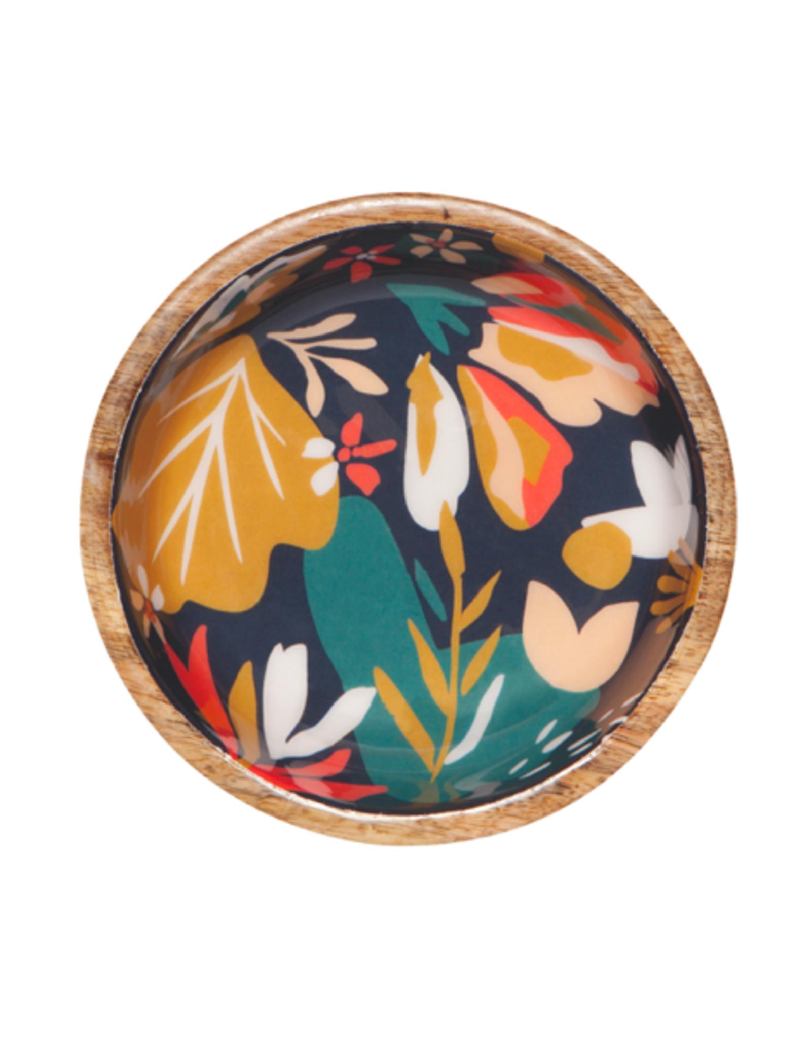 "DCA - Shallow Bowl/Mango Wood, Bloom, 6.5"""