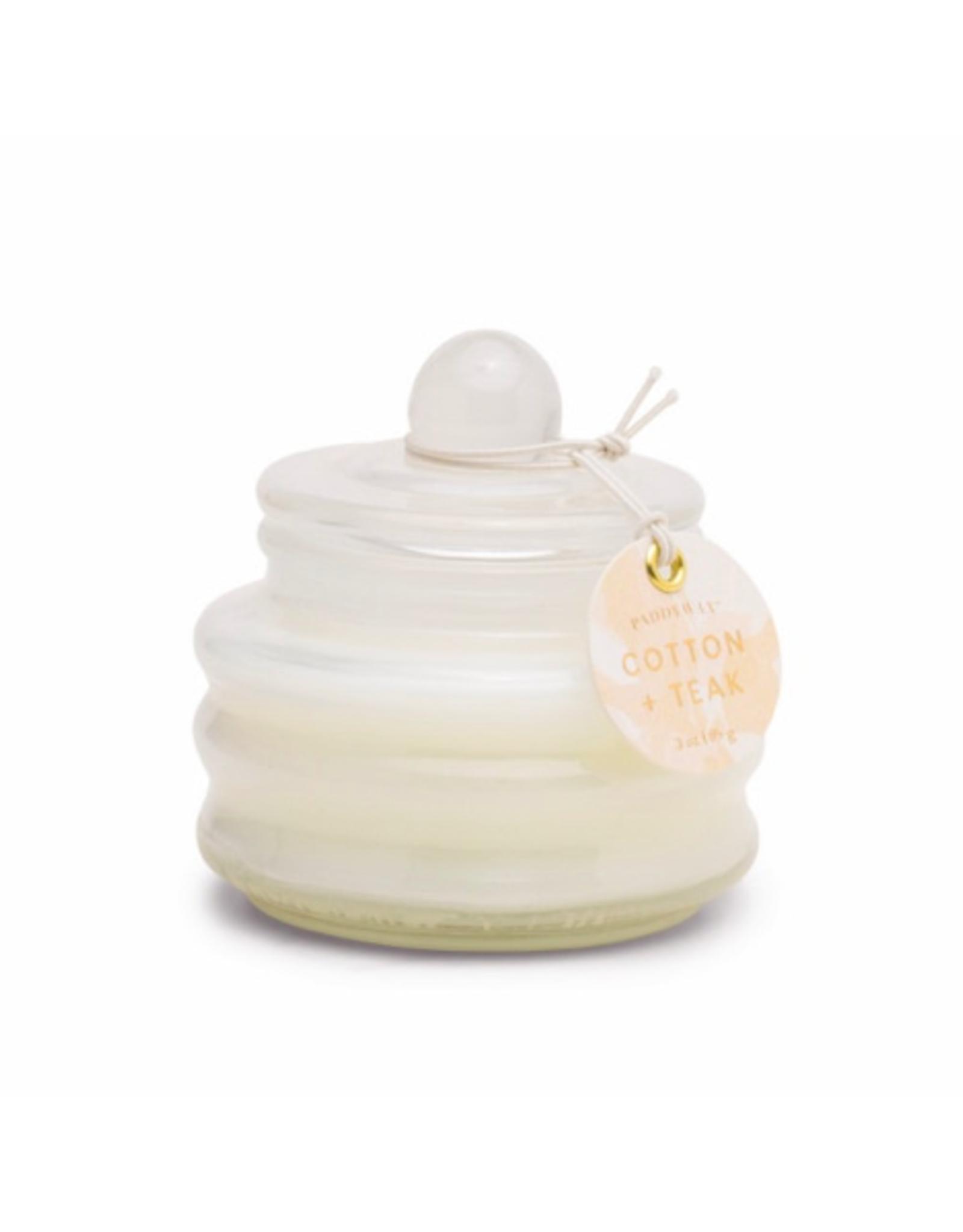 PAX - Soy Candle / Cotton & Teak, White Bubble Glass, 3oz