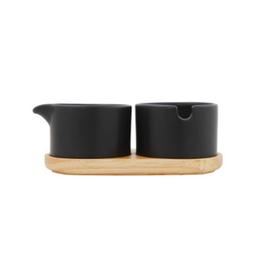 BLE - Sugar, Creamer, & Tray / Modern, Black 6.5''