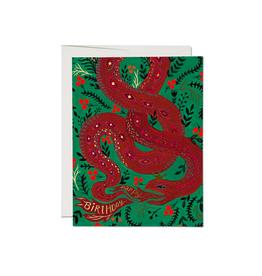 "RAP - Card / Happy Birthday, Red Snake, 4.25 x 5.5"""