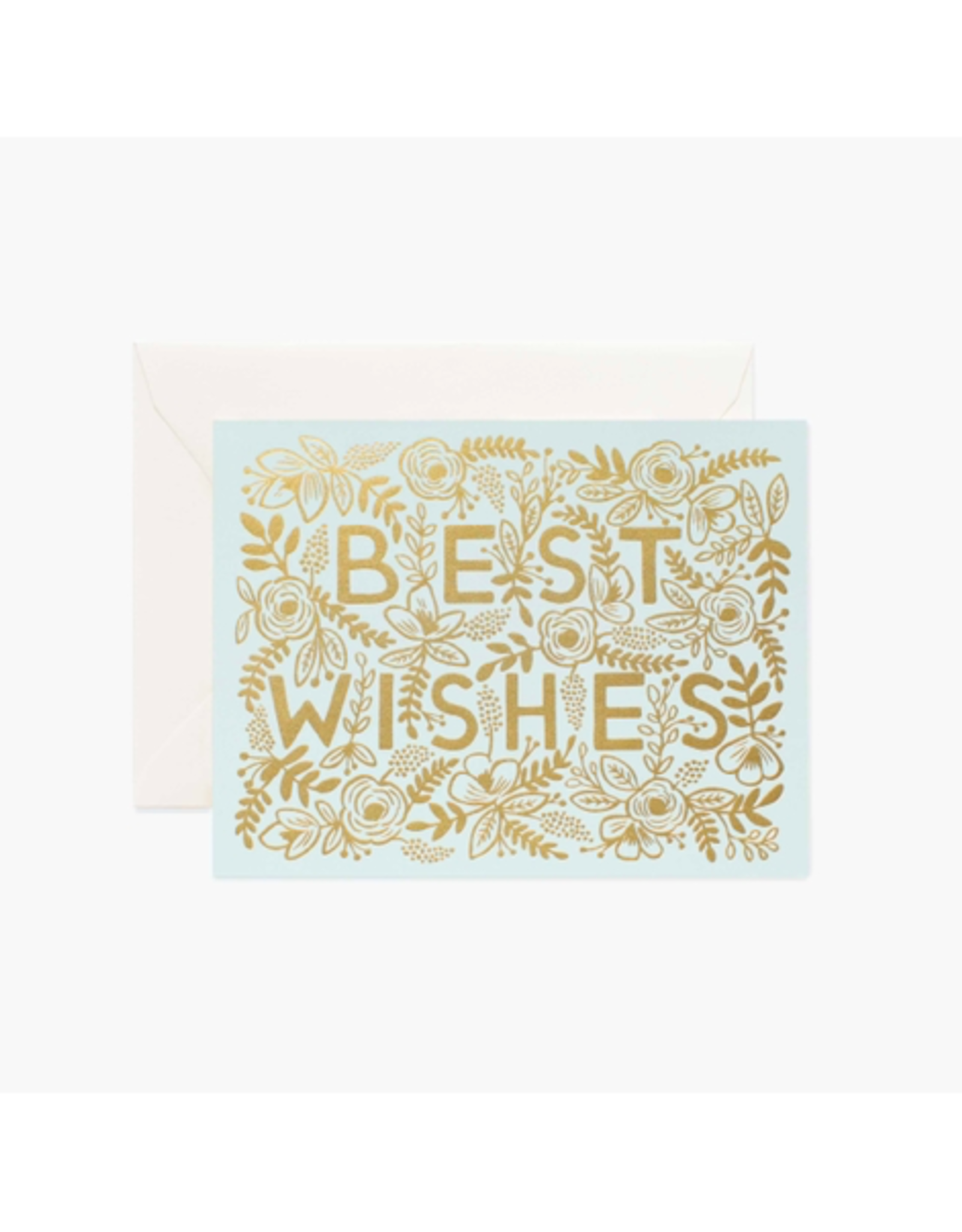 Rifle Paper - Card/Gold Floral, Best Wishes, 4.25 x 5.5""