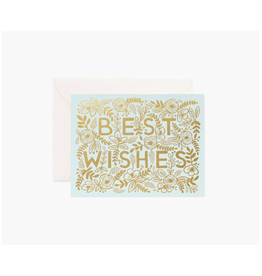 """Rifle Paper - Card / Best Wishes, Foil Flowers, 4.25 x 5.5"""""""