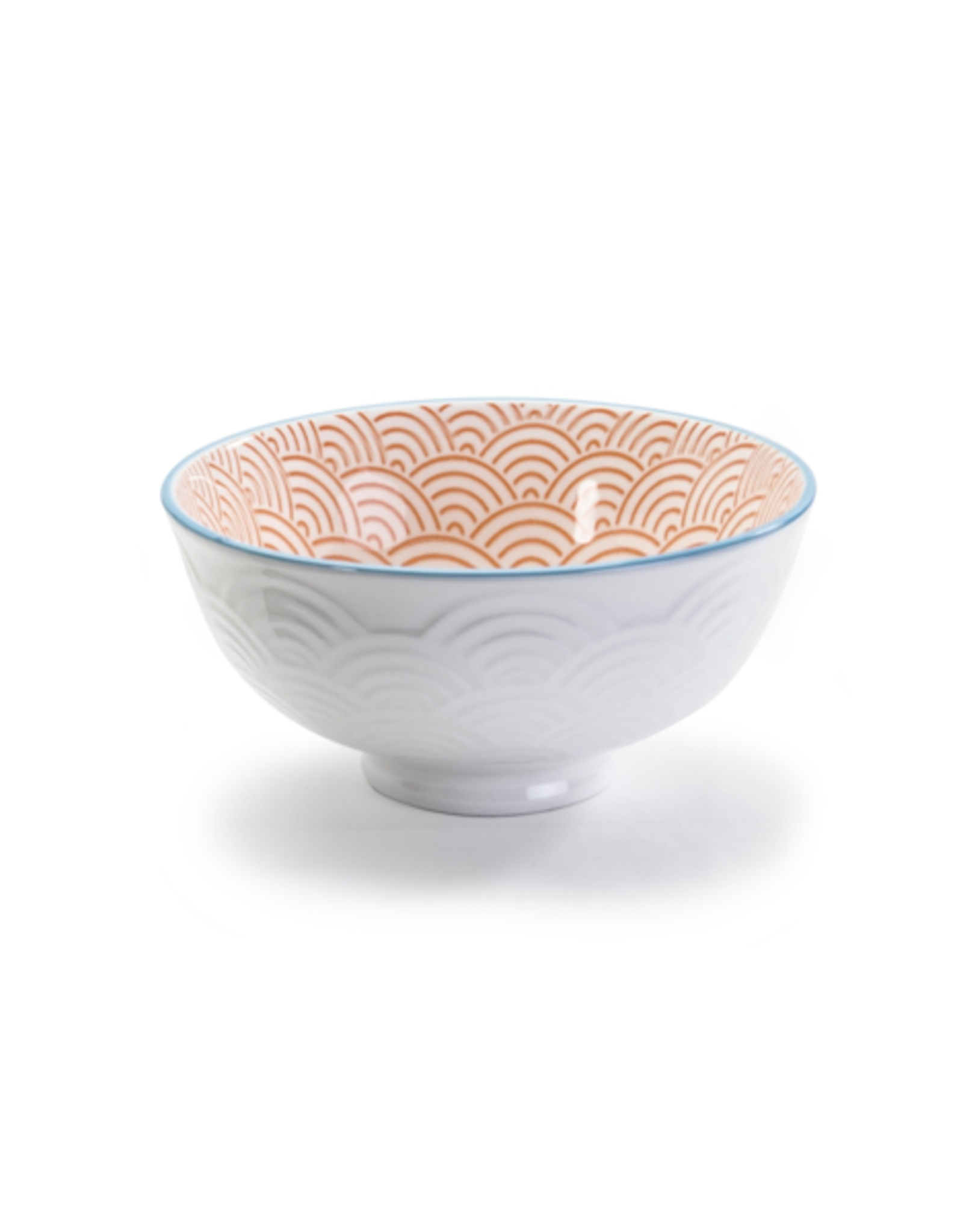 """DCO - Footed Bowl/Wave, Red & White, 4.75"""""""