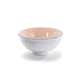 DCO - Footed Bowl/Wave, Red & White, 4.75""
