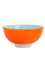 """DCO - Footed Bowl/Wave, Turquoise & Orange, 4.75"""""""