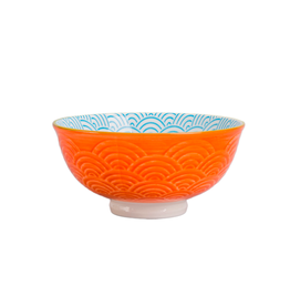 DCO - Footed Bowl/Wave, Turquoise & Orange, 4.75""