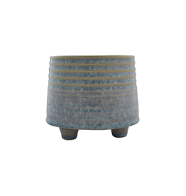 """NIA - Footed Plant Pot / Light Blue, 4"""""""