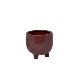 "NIA - Footed Plant Pot/Bordeaux, 4"""