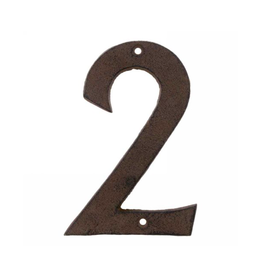 """AES - House Number 2 / Brown Cast Iron, 6"""""""