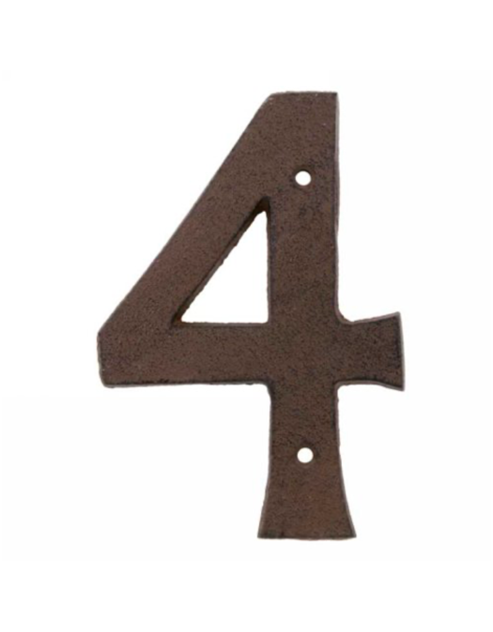 """AES - House Number 4/Brown Cast Iron, 6"""""""