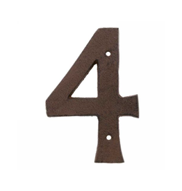 """AES - House Number 4 / Brown Cast Iron, 6"""""""
